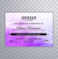 Abstract colorful watercolor certificate ebackground
