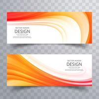 Abstract colorful business wave banners set design