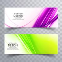 Abstract colorful wave banners set design