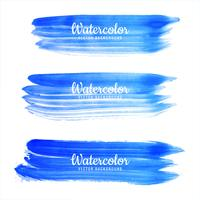 Beautiful blue watercolor stroke set background
