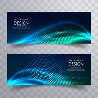 Abstract colorful shiny wave banners set design