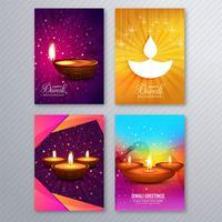 Elegante tarjeta de felicitación diwali folleto plantilla fondo establecido