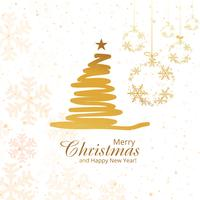 Merry christmas tree with snowflakes vector background