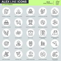 renewable energy technology line icon set