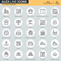Thin line travel and tourism icon set