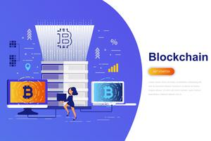 Cryptocurrency and blockchain modern flat concept web banner with decorated small people character. Landing page template.