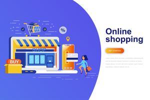 Online winkelen moderne platte concept webbanner met ingerichte kleine mensen teken. Bestemmingspaginasjabloon.