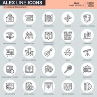 Thin line online education icons set