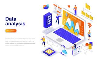 Data analysis modern flat design isometric concept. Analytics and people concept. Landing page template.