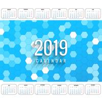 Modern 2019 colorful calendar template vector