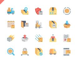 Simple Set Shipping Flat Icons pour site Web et applications mobiles. 48x48 Pixel Parfait. Illustration vectorielle