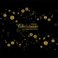 Merry christmas greeting card golden snowflakes background