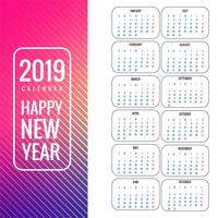 Calendar 2019 template colorful background