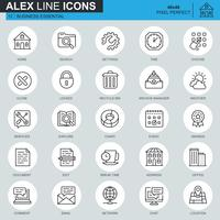 Thin line business communication and office icons set