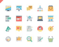 Simple Set Marketing Flat Icons voor Website en mobiele apps. 48x48 Pixel Perfect. Vector illustratie.