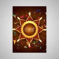 Diseño colorido hermoso de la plantilla del folleto del diwali feliz