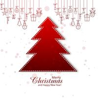 Merry christmas tree card decorative design