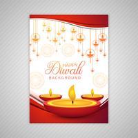 Vector de plantilla de folleto de tarjeta de felicitación de diwali elegante ornamental