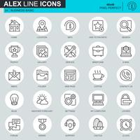 Thin line basic icons set pour site web et site mobile et applications. Contient des icônes telles que Lieu, Porte-documents, Lampe, Assistance, Affaires, Prix. 48x48 Pixel Parfait. AVC modifiable. Illustration vectorielle