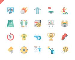 Simple Set Soccer Flat Icons voor website en mobiele apps. 48x48 Pixel Perfect. Vector illustratie.