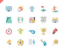 Conjunto simples ícones plana de futebol para o site e aplicativos móveis. 48x48 Pixel Perfeito. Ilustração vetorial.
