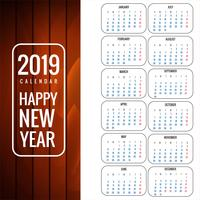 Calendar 2019 Template with wood texture background