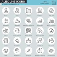 Tunnlinjens hälso- och sjukvårdssymboler som är avsedda för webbplats och mobila webbplatser och appar. Innehåller sådana ikoner som läkare, sjukhus, medicinsk utrustning. 48x48 Pixel Perfect. Redigerbar stroke. Vektor illustration.