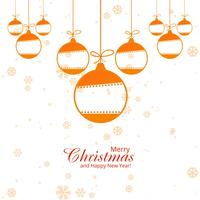 Merry christmas greeting card with snowflakes balls background