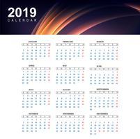 Calendário colorido de 2019 com vetor de modelo de onda
