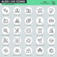 Thin line power industry and energy icons set