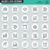 Thin line banking and finance icons set for website and mobile site and apps. Contains such Icons as E-Banking, Auction, Financial Growth. 48x48 Pixel Perfect. Editable Stroke. Vector illustration.