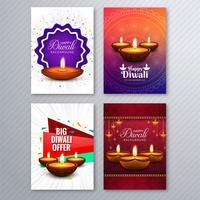 Elegant diwali hälsningskort mall broschyr uppsättning bakgrund