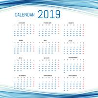 Modelo de calendário 2019 com fundo de onda