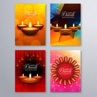Brochure de modèle de carte de voeux diwali élégant situé à l'arrière-plan