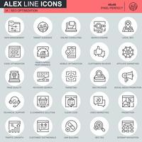 Thin line seo and web optimization icons set