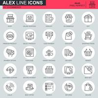 Thin line e-commerce and shopping icons set for website and mobile site and apps. Contains such Icons as Payment, Basket, Customer, Shop. 48x48 Pixel Perfect. Editable Stroke. Vector illustration.