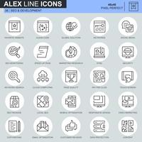Icônes de développement et de référencement de lignes minces définies pour les sites Web, les sites mobiles et les applications. Contient des icônes telles que Clean Code, Data Protection, Monitoring. 48x48 Pixel Parfait. AVC modifiable. Illustration vect