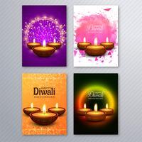 Diseño determinado del folleto de la plantilla de la tarjeta de felicitación del diwali hermoso