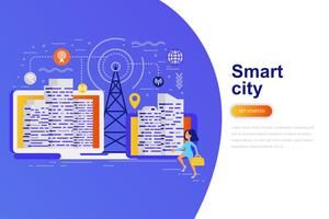 Smart city modern flat concept web banner with decorated small people character. Landing page template.