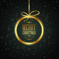 Merry Christmas card with shiny ball background vector