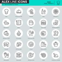 Thin line restaurant and food icons set