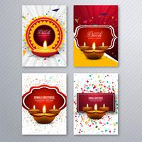 Beautiful diwali greeting card template brochure set design