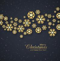 Elegant Merry Christmas golden snowflakes background