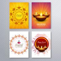 Gelukkige diwali kleurrijke brochure collectie vector
