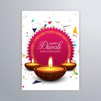 Poster with a diya for diwali colorful flyer template design