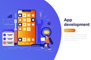Aplicación de desarrollo moderno concepto plano banner web con carácter de personas pequeñas decoradas. Plantilla de página de aterrizaje.