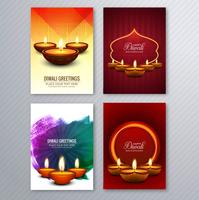 Diwali heureux brochure colorée modèle collection vecteur