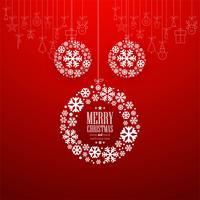 Decorative Merry Christmas ball with red background