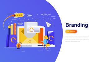 Branding moderno conceito plana web banner com caráter de pessoas pequenas decorados. Modelo de página de destino.