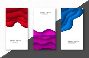 Abstract colorful papercut banner set template design vector